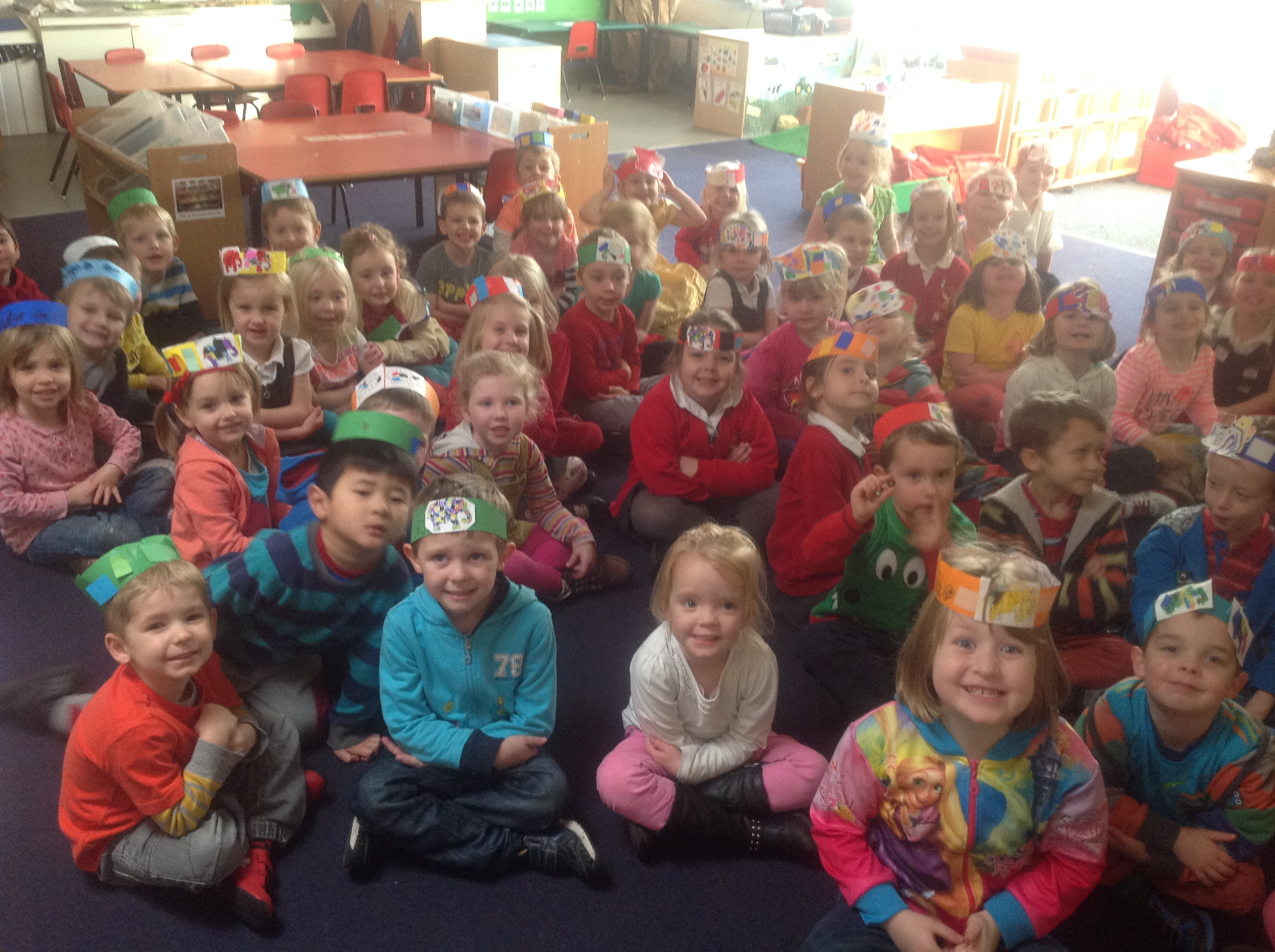 We wore bright cothes to look like Elmer.